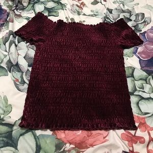Almost Famous Tops - Almost Famous Smocked Off-Shoulder Velvet Top